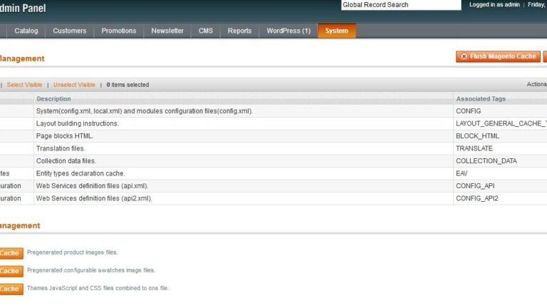 Clear and fflush the magento cache