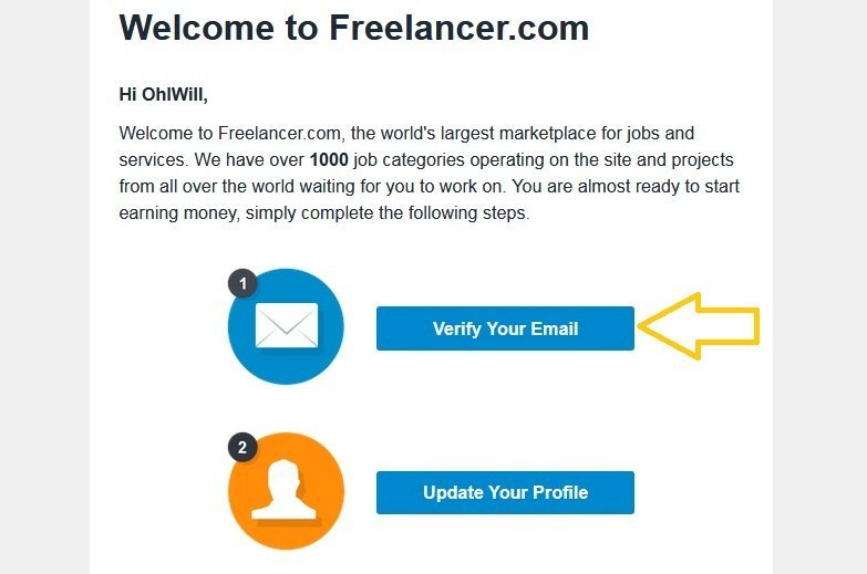 Verify your email with Freelancer