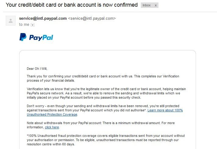 Credit-debit card or bank account confirmed on Paypal
