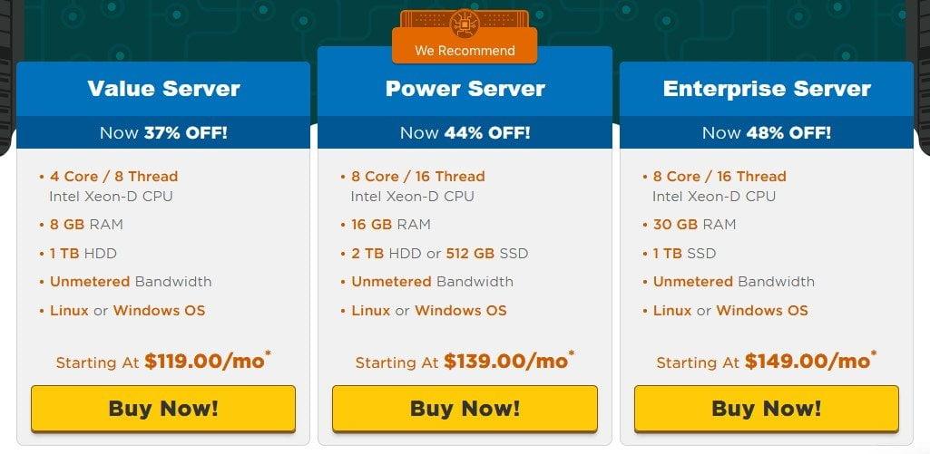 Dedicated Server plans on HostGator - oiw