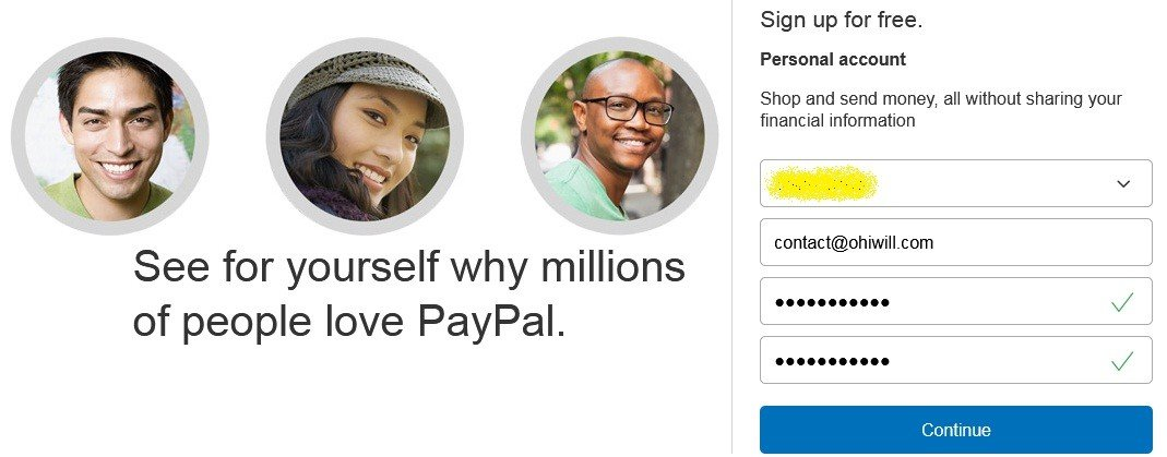 Enter account information to Sign up - Paypal