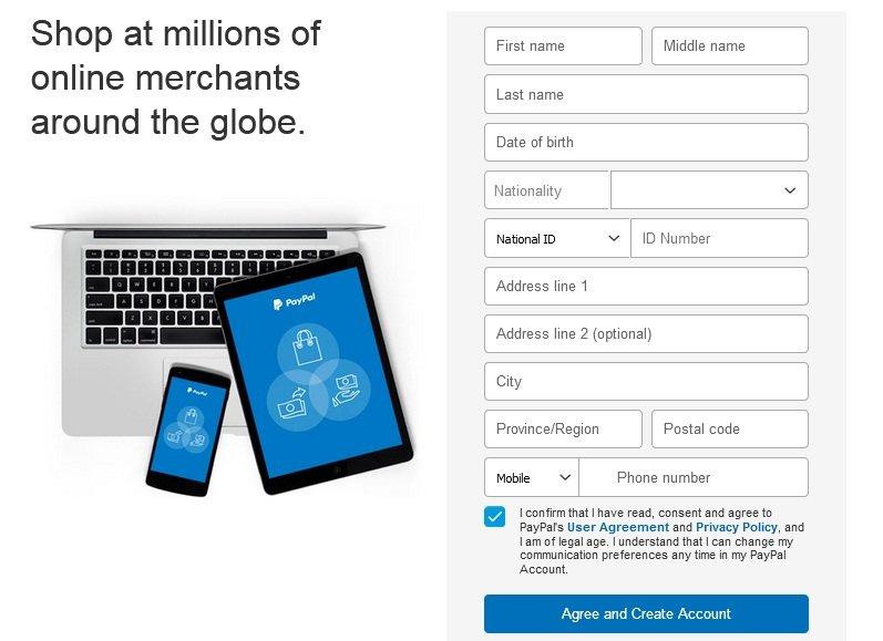 Fill form complete register - Paypal - ohiwilldotcom