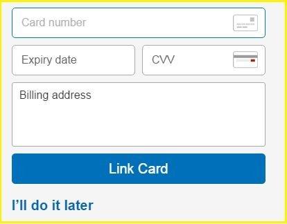 Link Credit Card - Paypal