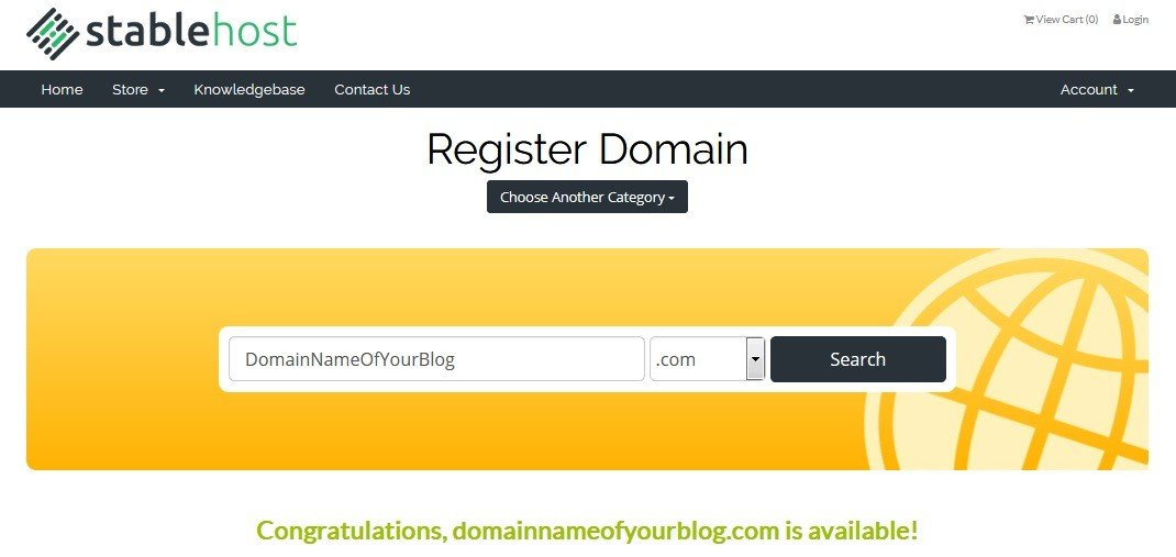 Register Domain Name on Stablehost - ohiwilldotcom