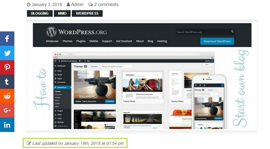 How to display the Last Updated time of your posts in WordPress, better for SEO