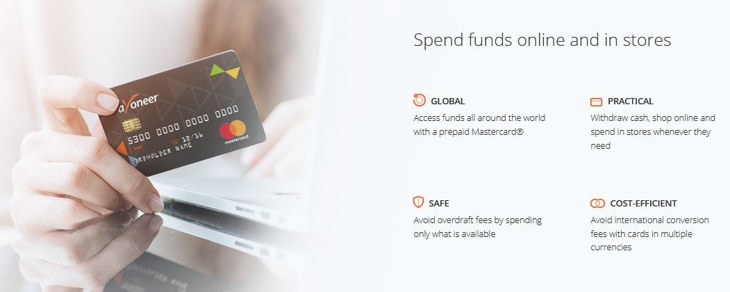 Spend funds online with Payoneer