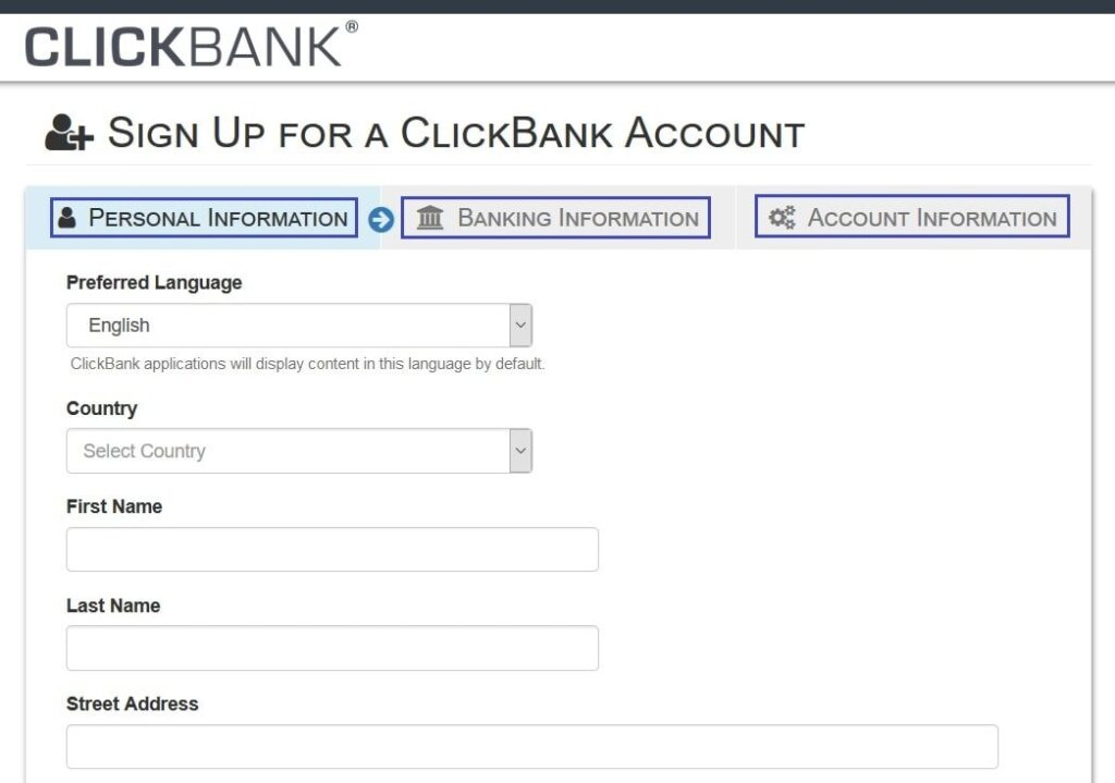 Clickbank Sign Up Information