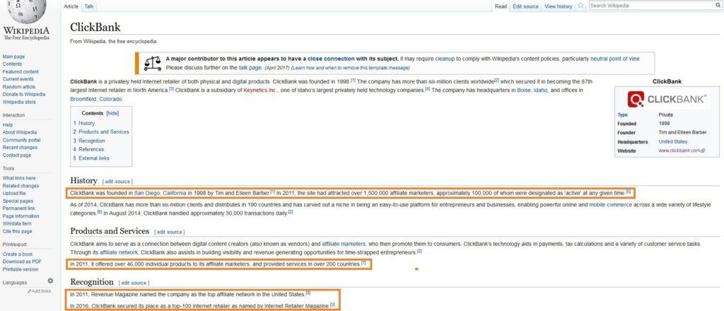 Clickbank.com Wiki Statistics