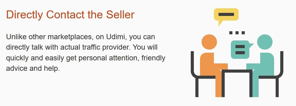 Direct contact the Seller with Udimi