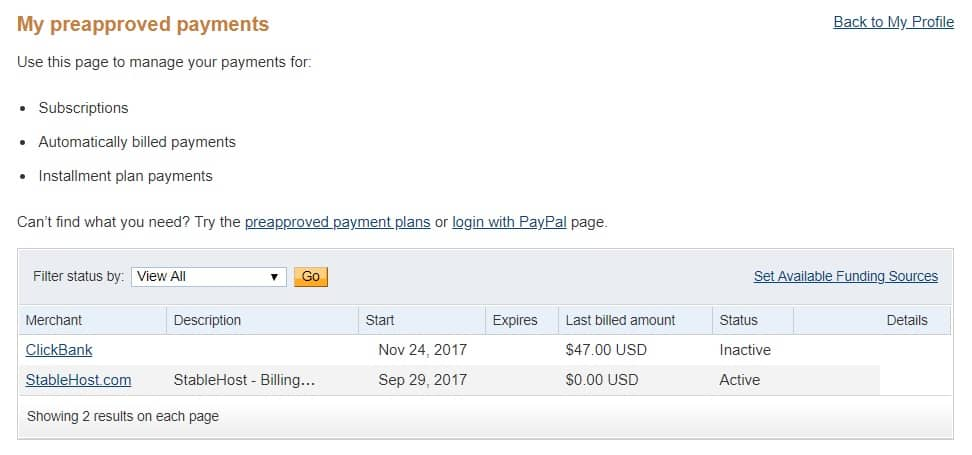 PayPal My Preapproved Payments Status