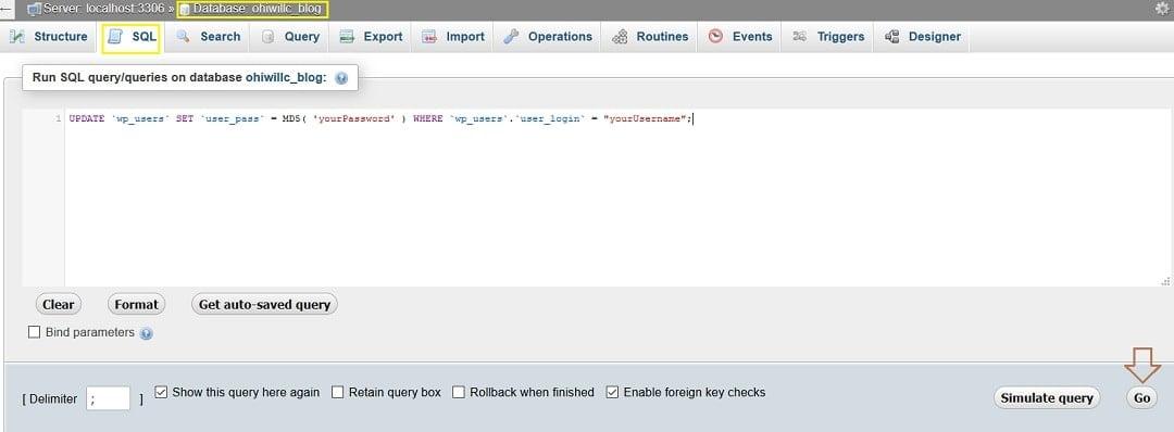 SQL Query reset password