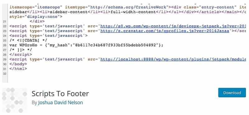 Scripts To Footer WP Plugin