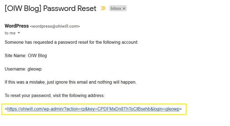 WordPress Password Reset via Email