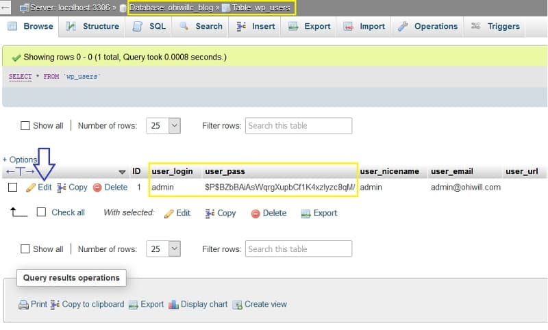 WordPress resetting admin username and password using phpMyAdmin