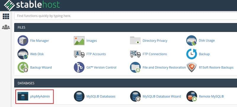 phpMyAdmin Access DB on cPanel