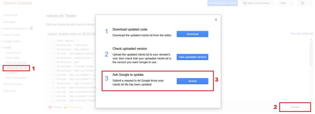 Ask Google to update robots.txt file