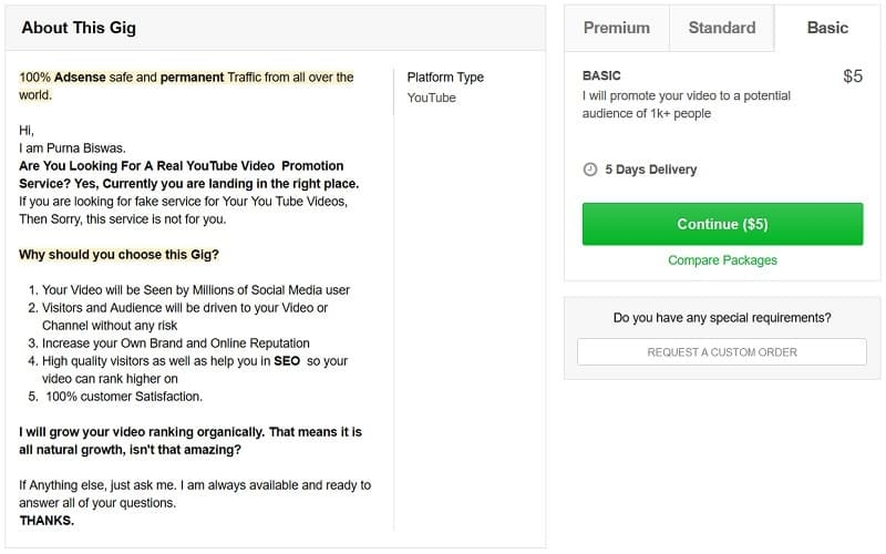 Buy Youtube views at Fiverr