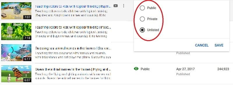 Set Youtube video to Unlisted, Public mode