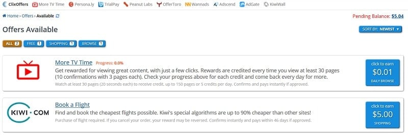 Do offers on ClixSense