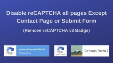Disable reCAPTCHA (v3) for all pages Except the one like Contact Page or Submit Form with Contact Form 7-min